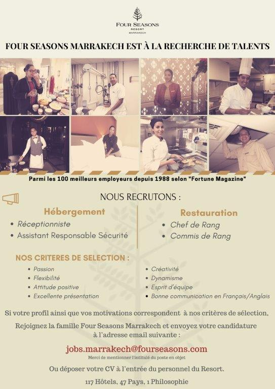 فندق فور سيزونز ريزورت مراكش يعلن عن توظيف في عدة مناصب Four_s10