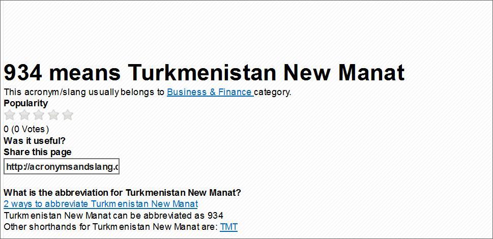 934  Turkmenistan manat   46524110