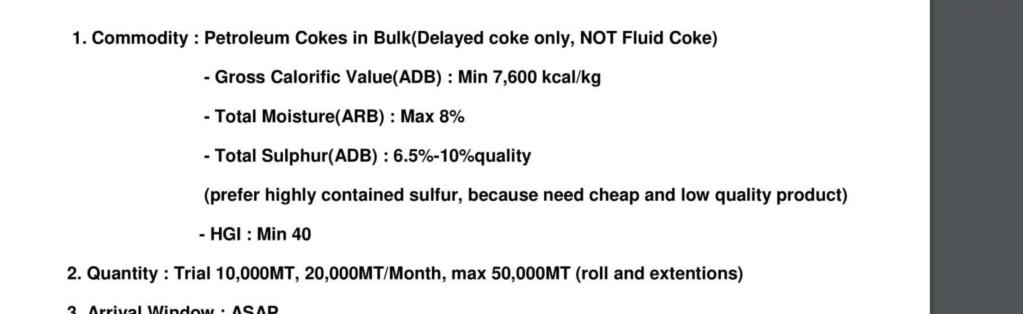 Petroleum Coke  62310310