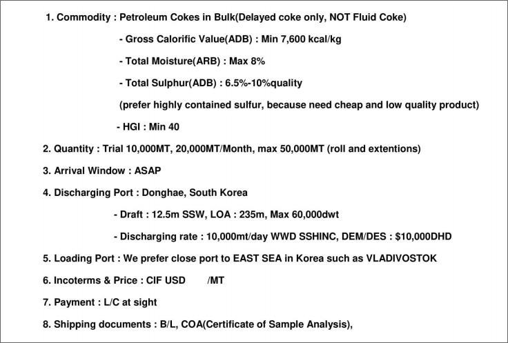 Buyer Petroleu COKE   A02210
