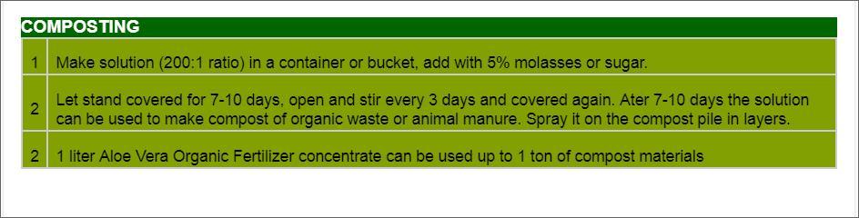 Offer    Aloe Vera Organic Fertilizer Liquid Concentrate  Compos10