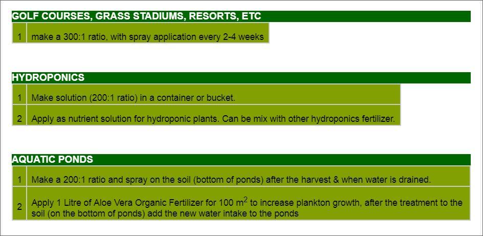 Offer    Aloe Vera Organic Fertilizer Liquid Concentrate  Golf10