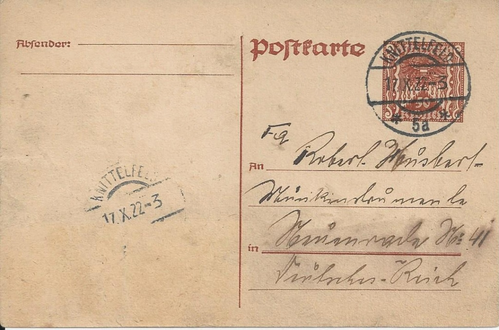 """Postkartenserie """"Quadratischer Wertstempel - Wertziffer im Dreieck"""" 1922-24 - Seite 5 Bild_169"""