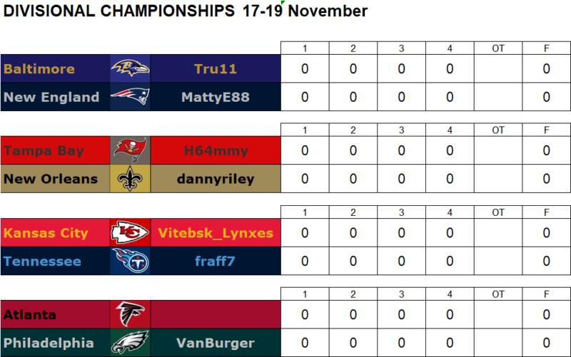 Divisional Playoffs 17-19 November Divg11