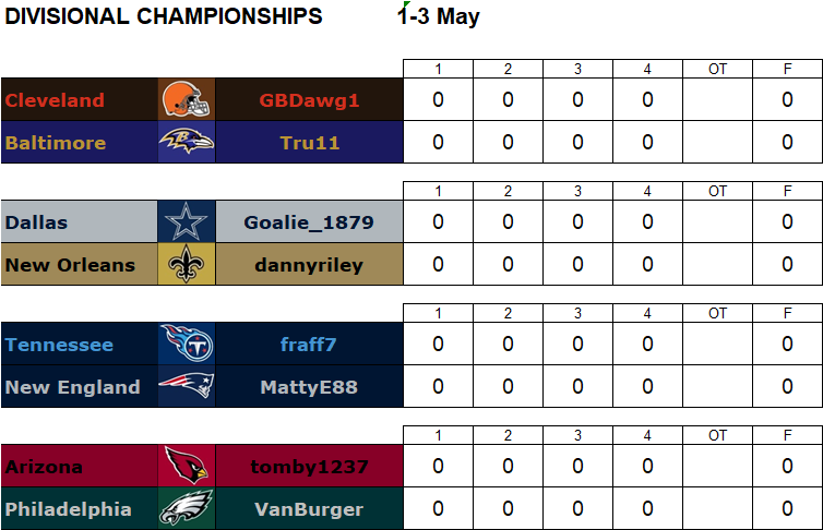 Divisional Playoffs, 1-3 May **Note Advance Day - Friday** Divg13