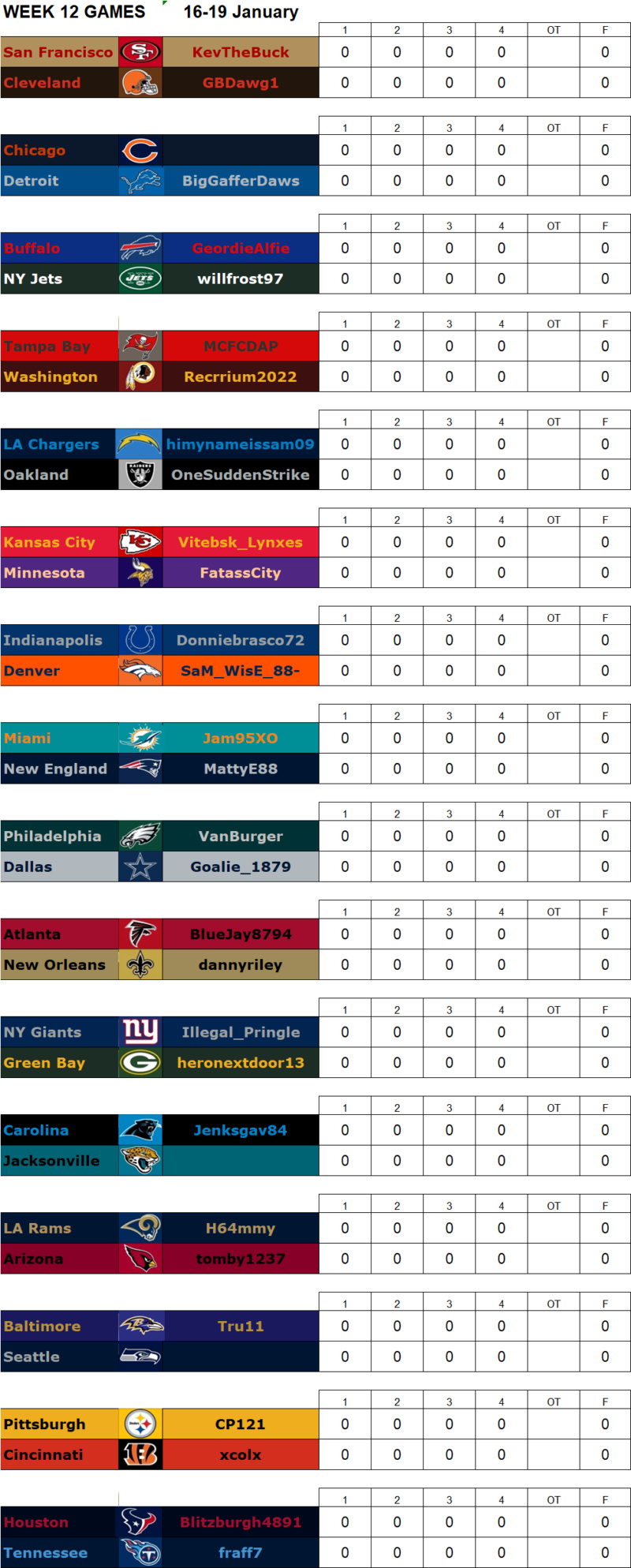 Week 12 Matchups, 16-19 January **Amended** W12g14