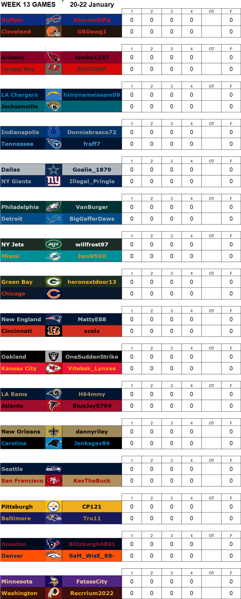 Week 13 Matchups, 20-22 January **Amended** W13g15