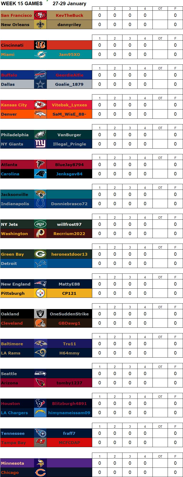 Week 15 Matchups, 27-29 January W15g14