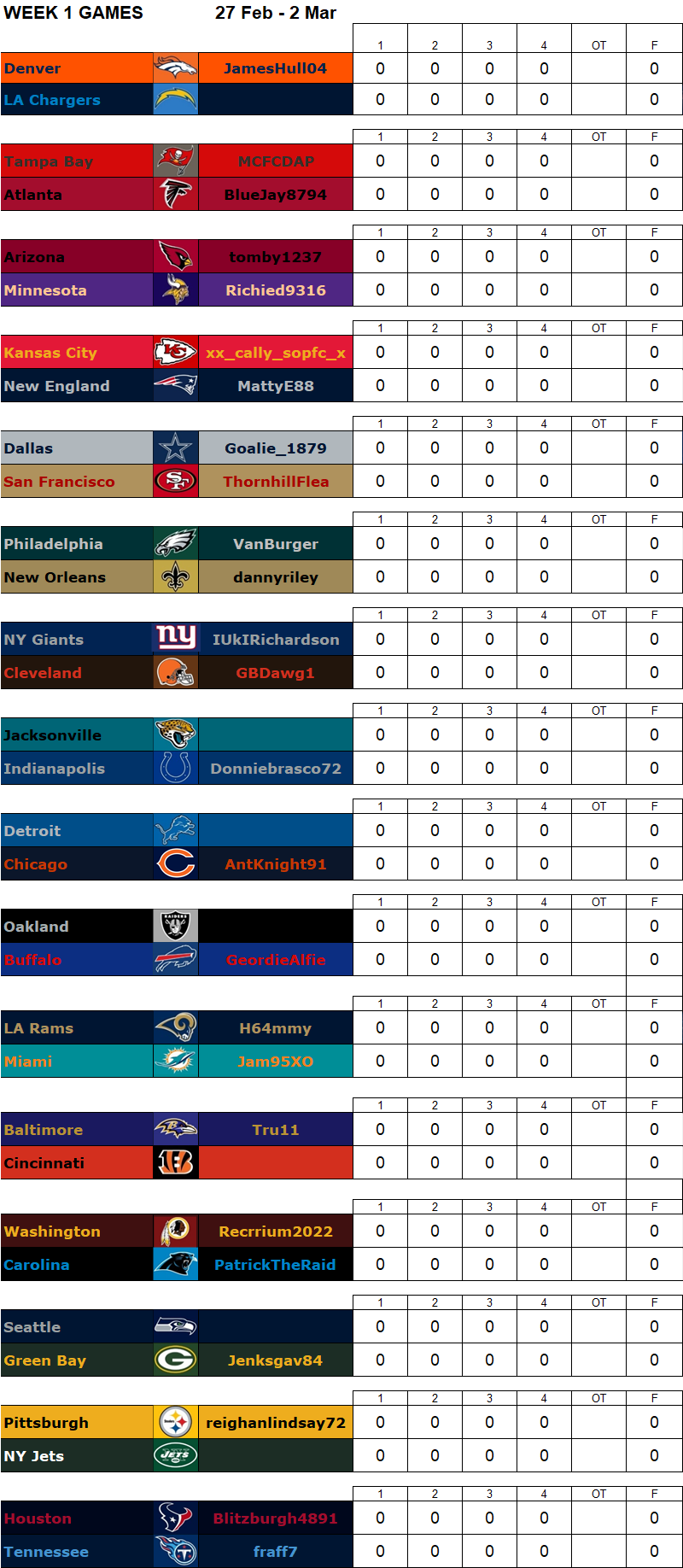 Week 1 Regular Season Matchups, 27 Feb - 2 Mar W1g12