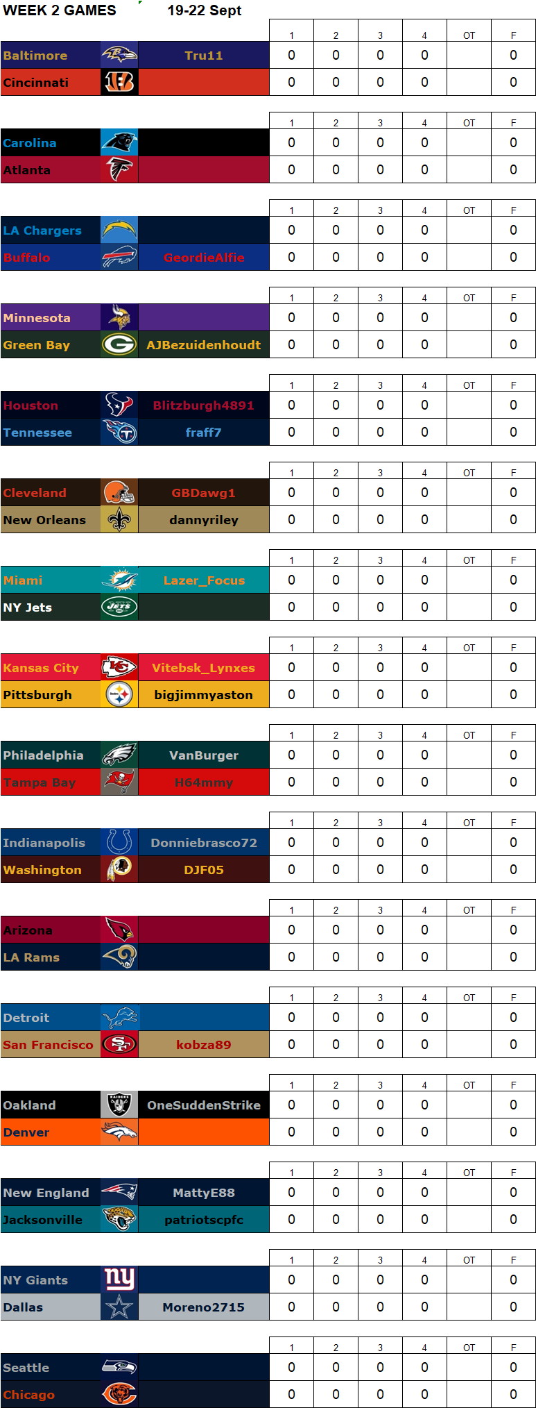 Week 2 Regular Season Matchups, 19-22 September **Amended** W2g11