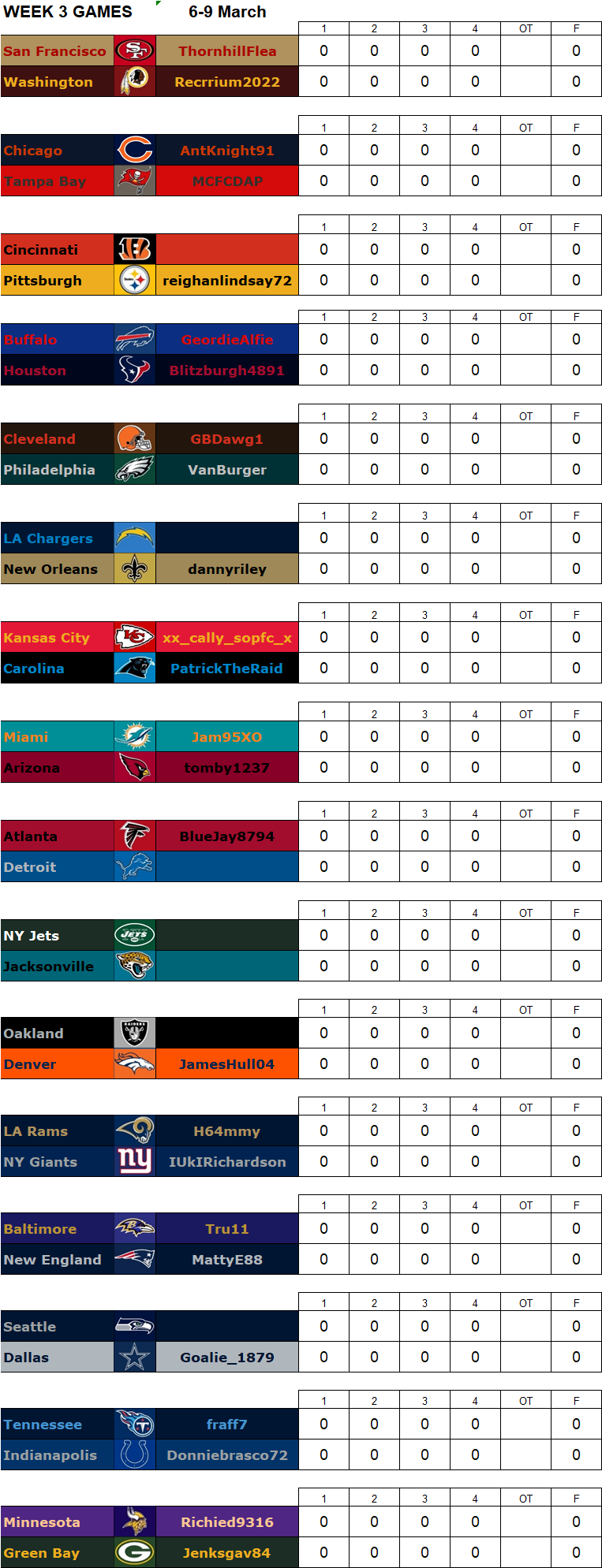 Week 3 Regular Season Matchups, 6-9 March W3g13