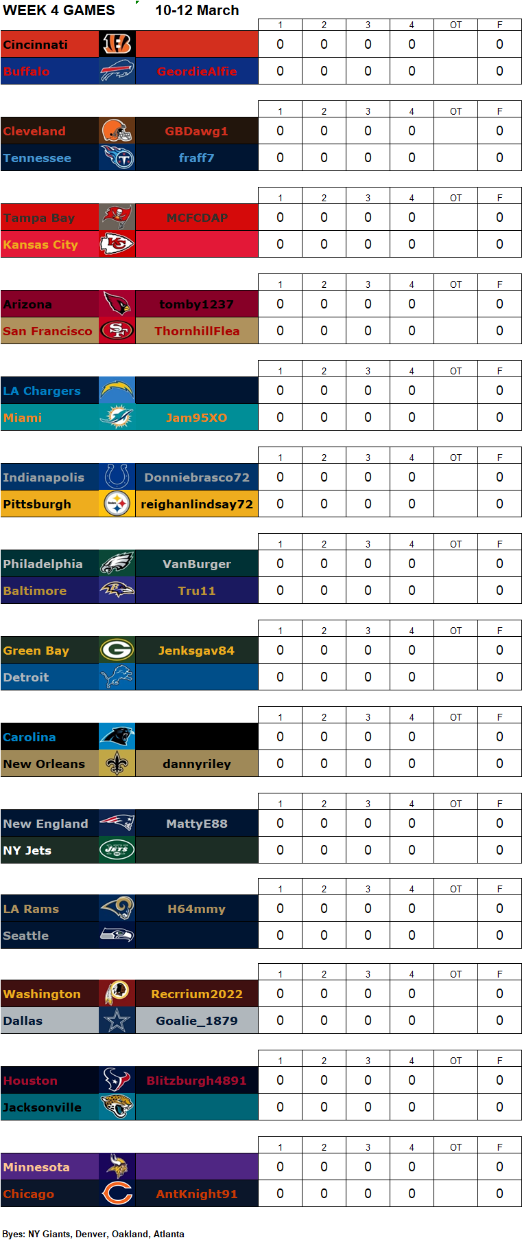 Week 4 Matchups, 10-12 March **Amended** W4g13