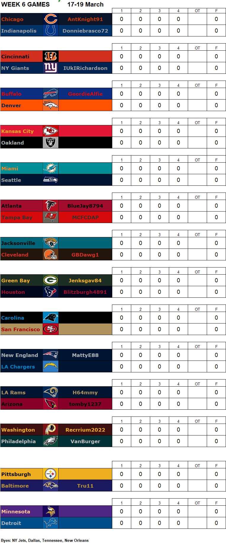 Week 6 Matchups, 17-19 March **Amended** W6g13