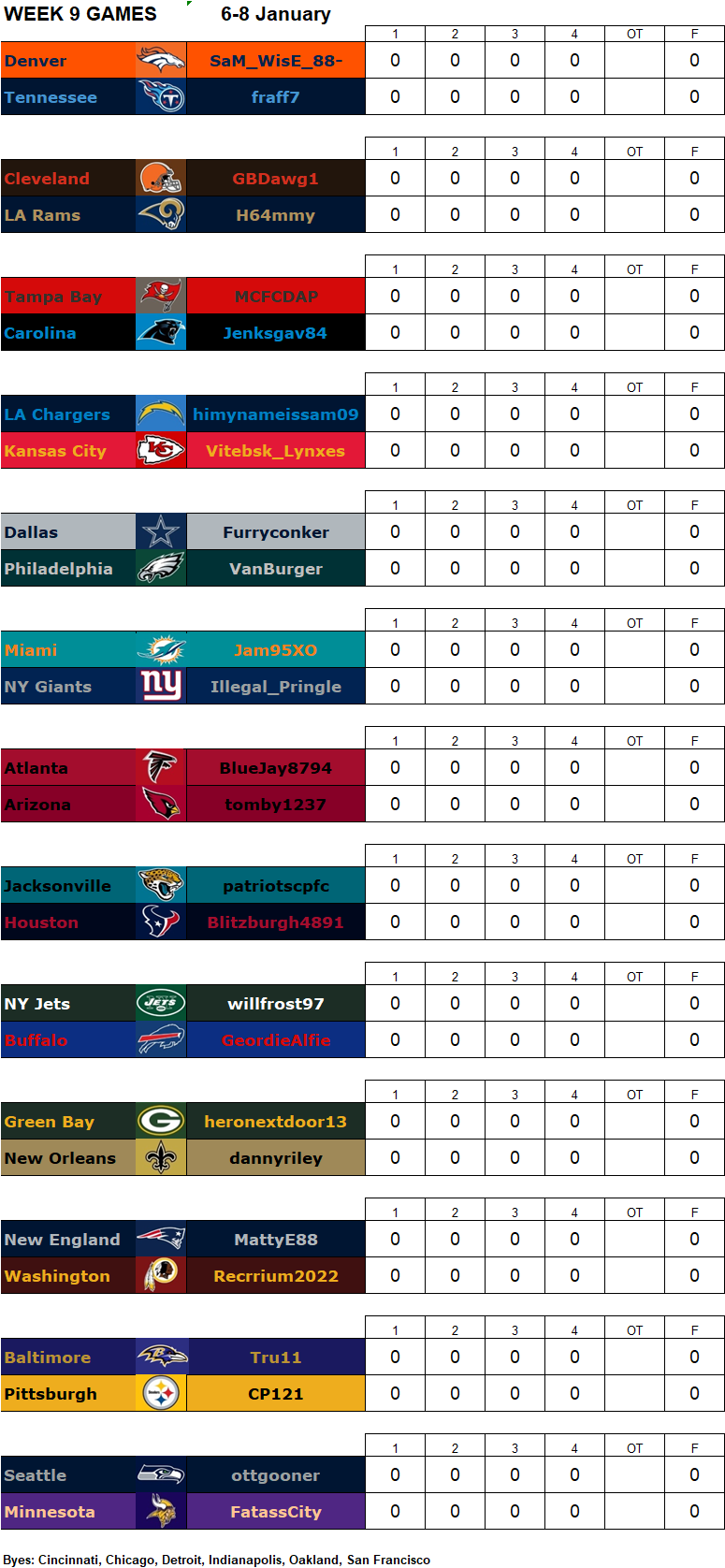 Week 9 Matchups, 6-8 January **Amended** W9g13