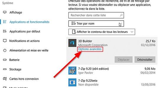 Réinitialisez une application Windows 10 dysfonctionnelle Applic10