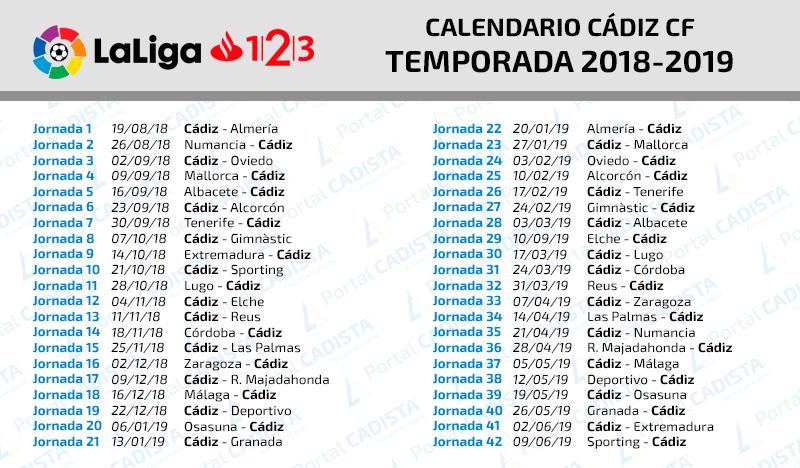 Calendario del Cádiz CF 2018/2019 Calend10