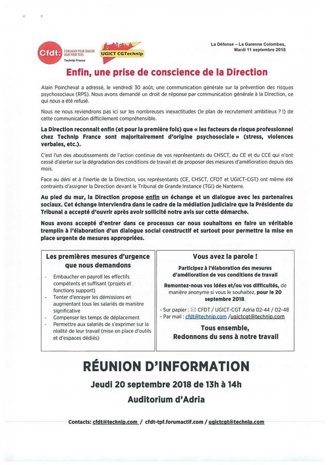 (2018-09-11) - ENFIN, UNE PRISE DE CONSCIENCE DE LA DIRECTION 41506410