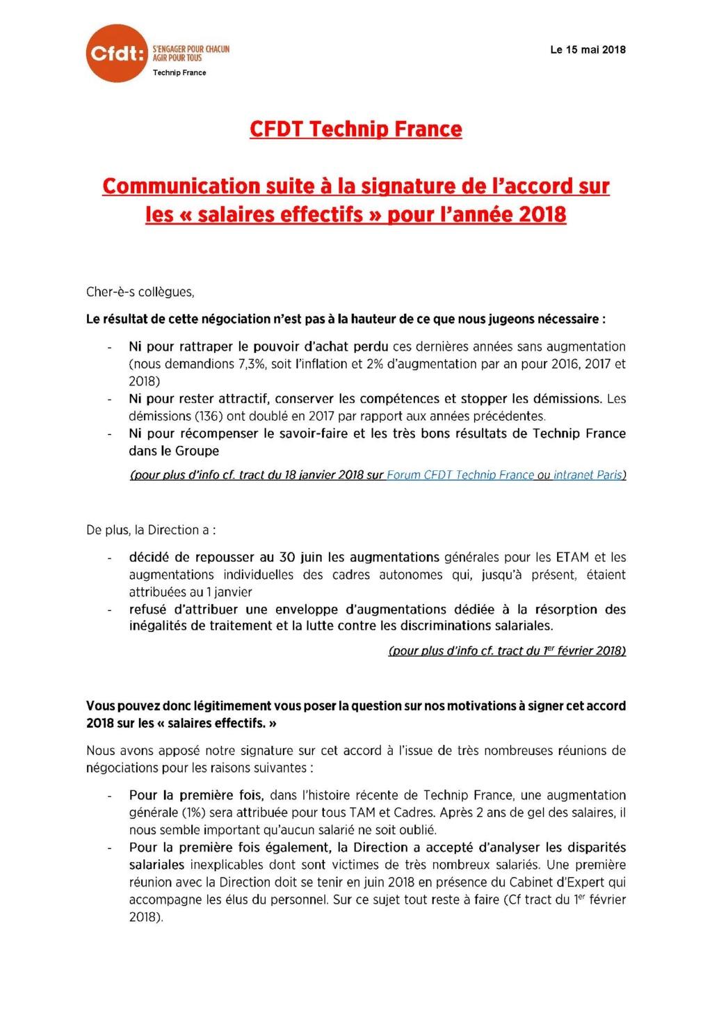 (2018-05-15) - COMMUNICATION SUITE A LA SIGNATURE DE L'ACCORD SUR LES « SALAIRES EFFECTIFS » POUR L'ANNEE 2018 Commun10