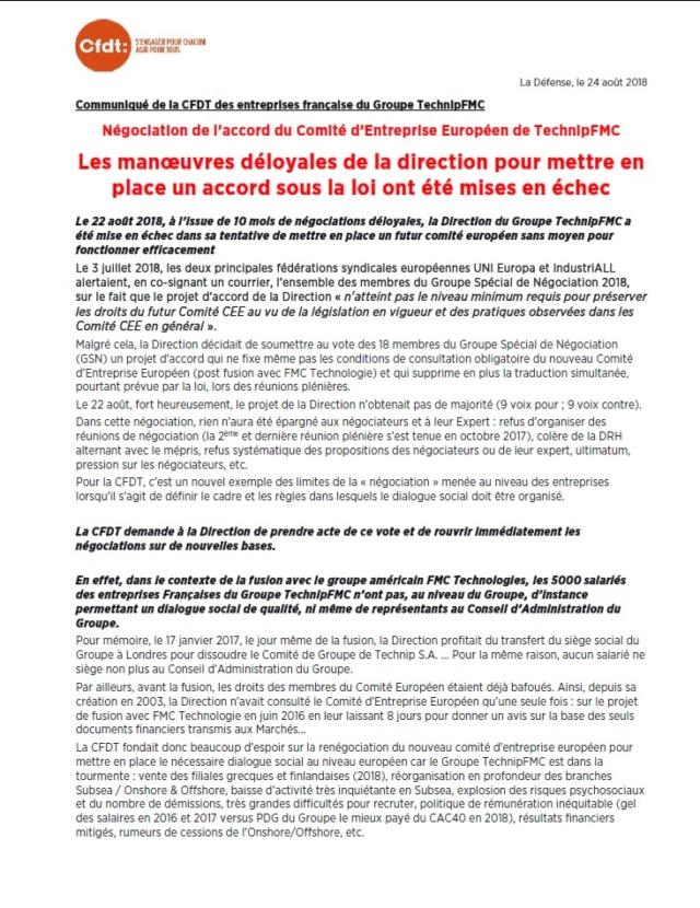 (2018-08-24) - COMMUNIQUE DE LA CFDT DES ENTREPRISES FRANÇAISE DU GROUPE TECHNIPFMC Comu110