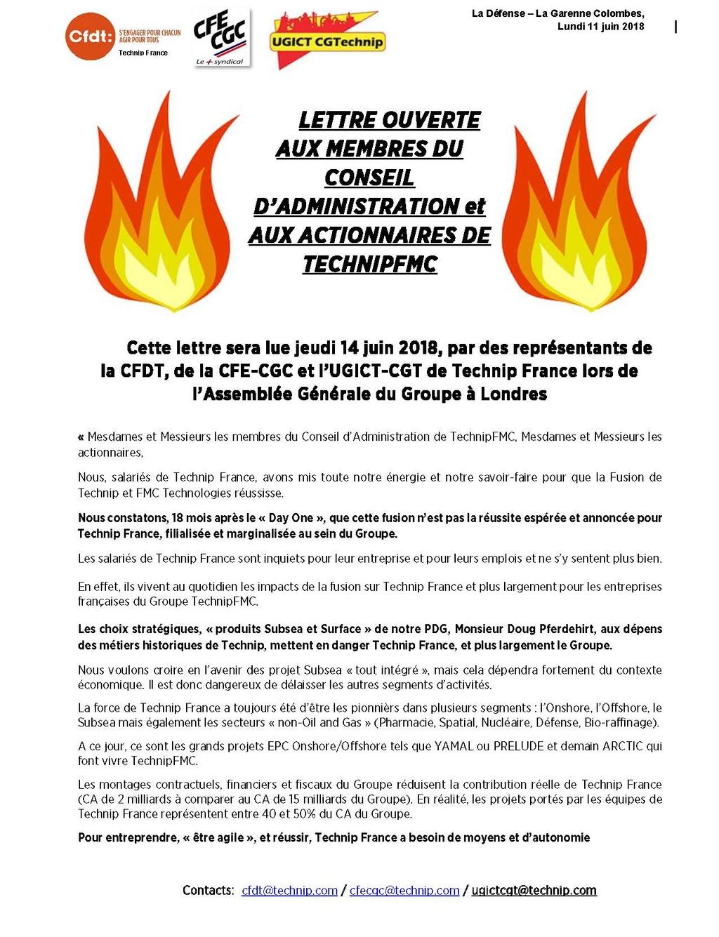(2018-06-11) - LETTRE OUVERTE AUX MEMBRES DU CONSEIL D'ADMINISTRATION et AUX ACTIONNAIRES DE TECHNIPFMC Tract_11