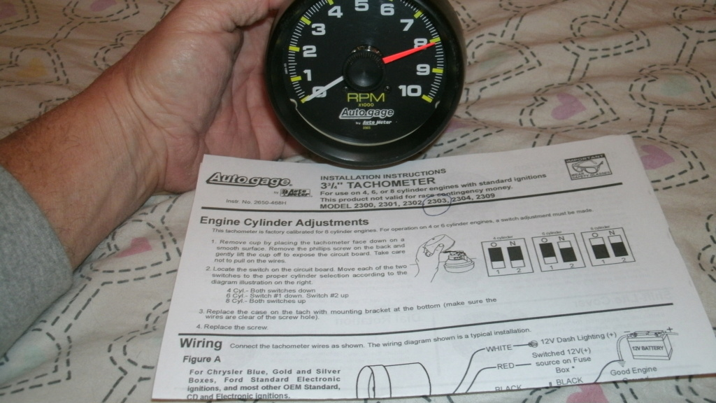 """Autogage 3 3/4"""" Tach with instructions. Tach_110"""