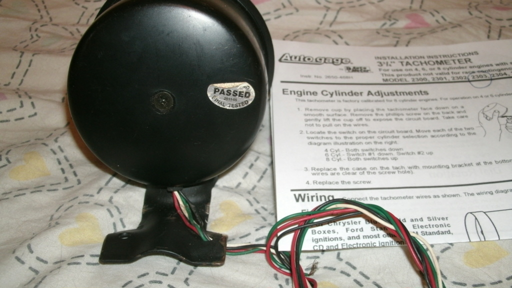 """Autogage 3 3/4"""" Tach with instructions. Tach_510"""