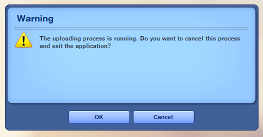 "Sims 3 Launcher: ""the uploading process is running"". Upload10"