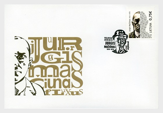 LITUANIA - Sello dedicado a George Maciunas Creador del movimiento FLUXUS Lt380610