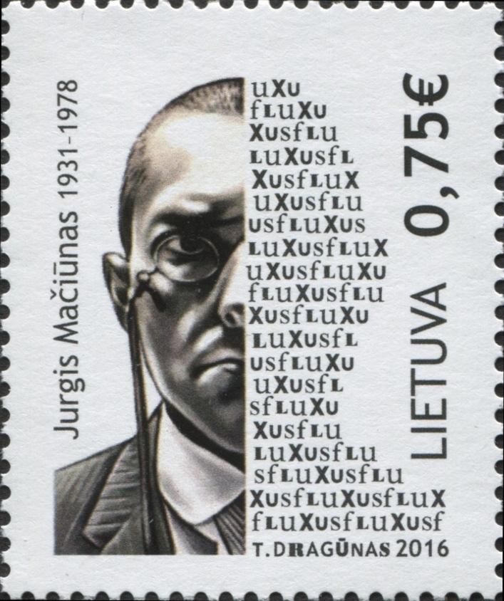 LITUANIA - Sello dedicado a George Maciunas Creador del movimiento FLUXUS S-l30010