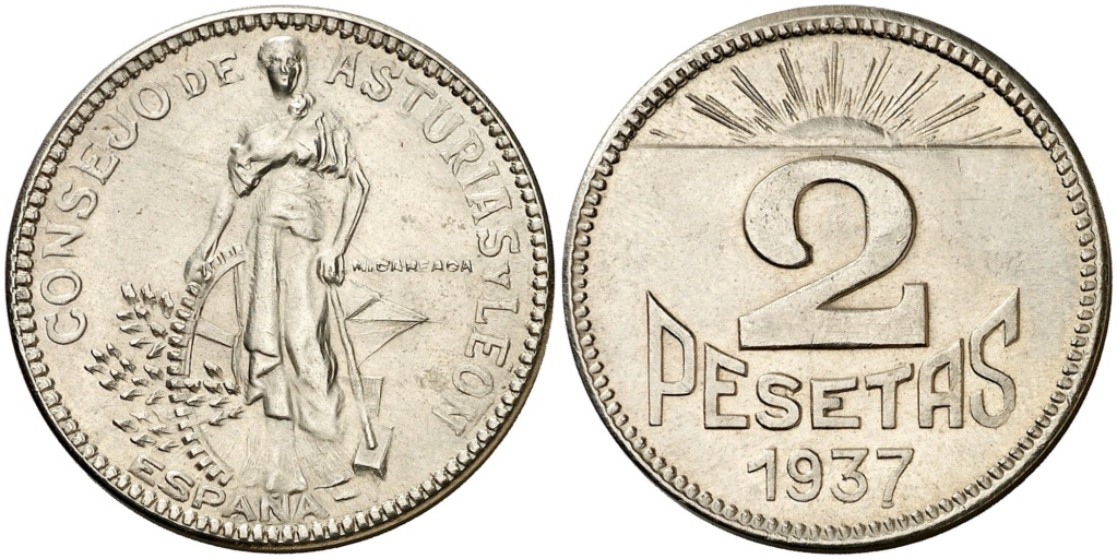 2 pesetas 1937. Consejo Asturias y León. Opinión 110