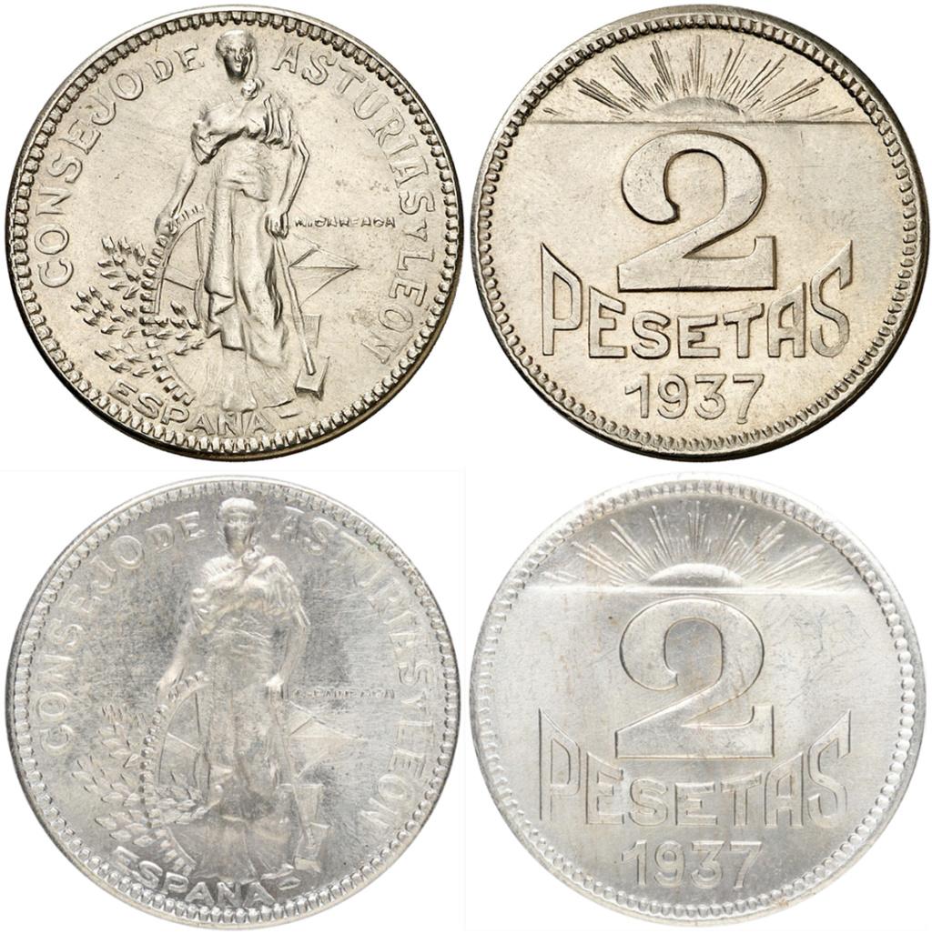 2 pesetas 1937. Consejo Asturias y León. Opinión 11110