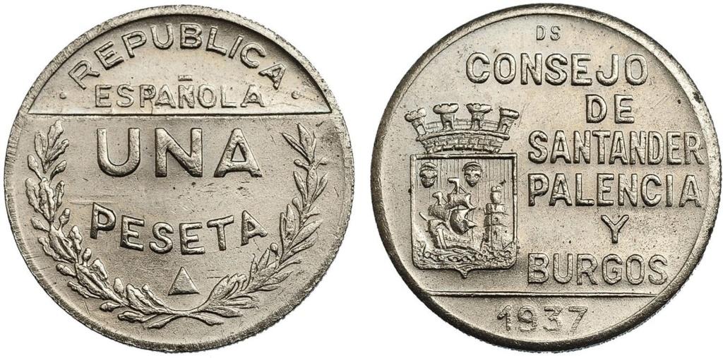 1 Peseta 1937. Consejo Santander Palencia y Burgos. PRUEBA 112