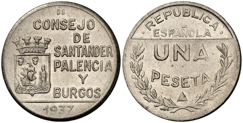 1 Peseta 1937. Consejo Santander Palencia y Burgos. PRUEBA 214