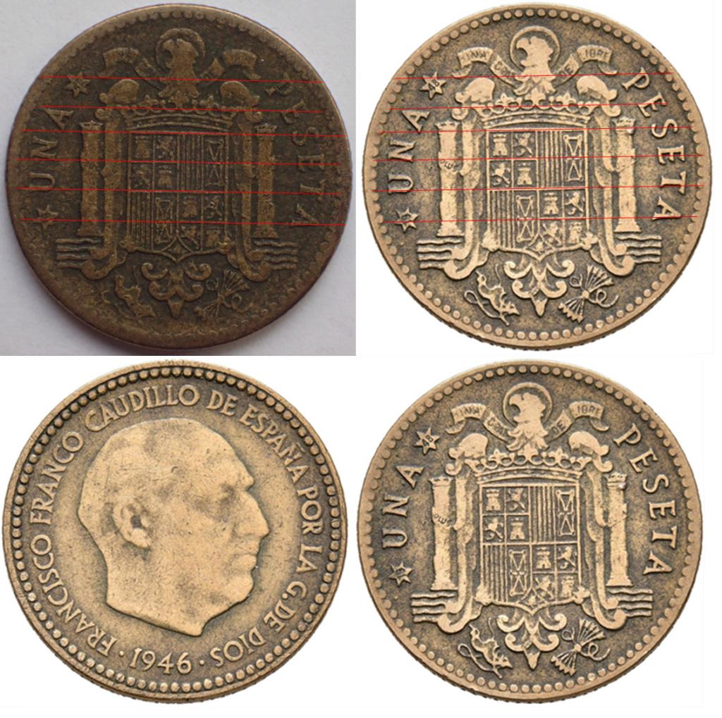 1 Peseta 1947*19-48. Estado Español. EL REVERSO. 320
