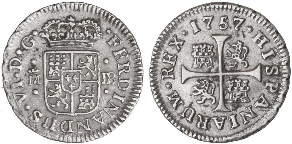 1/2 real. FERNANDO VI. 1757. Madrid. JB A14