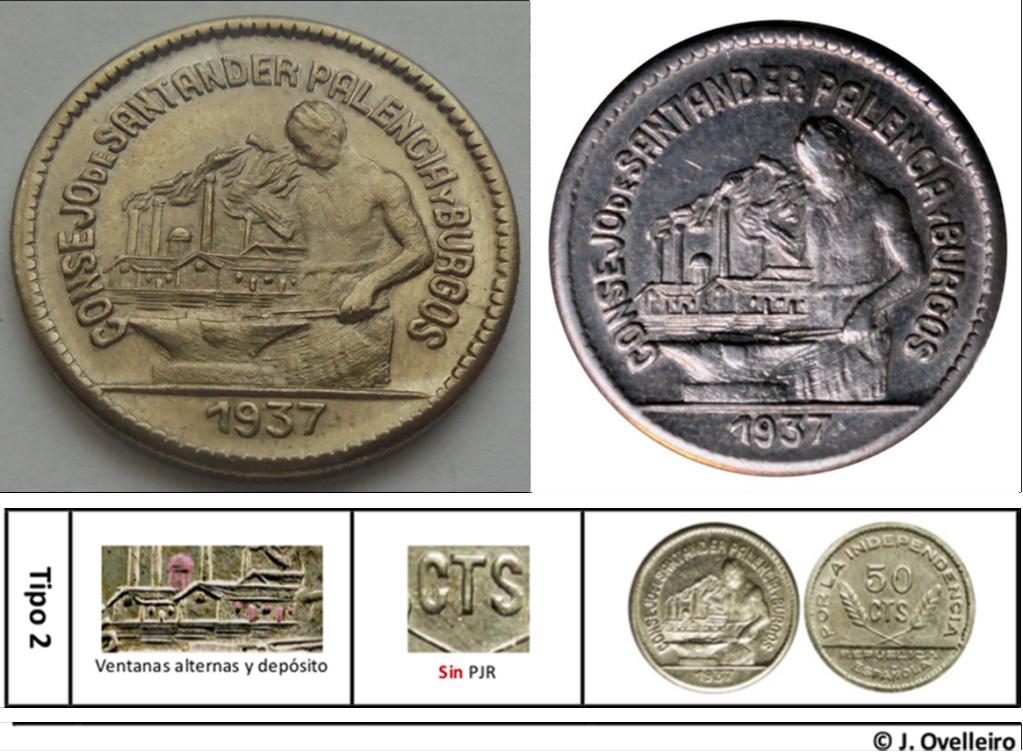 50 céntimos 1937. Consejo Santander, Palencia y Burgos.  A16