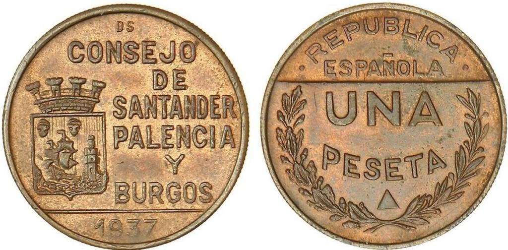 1 Peseta 1937. Consejo Santander Palencia y Burgos. PRUEBA A20