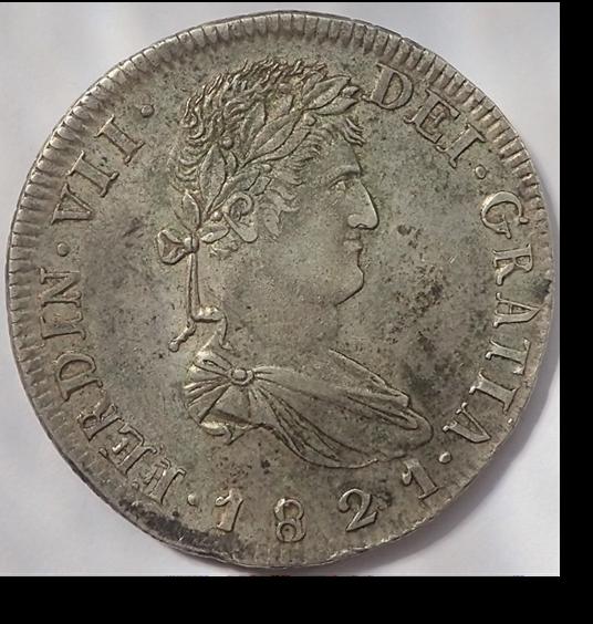 8 Reales Fernando VII. 1821. Zacatecas. RG A30