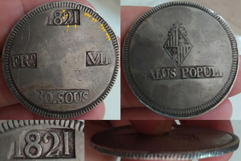 30 sous 1821. Fernando VII A43