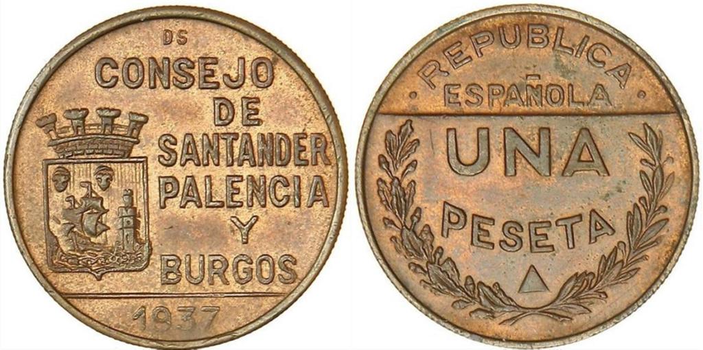 1 Peseta 1937. Consejo Santander Palencia y Burgos. PRUEBA A52