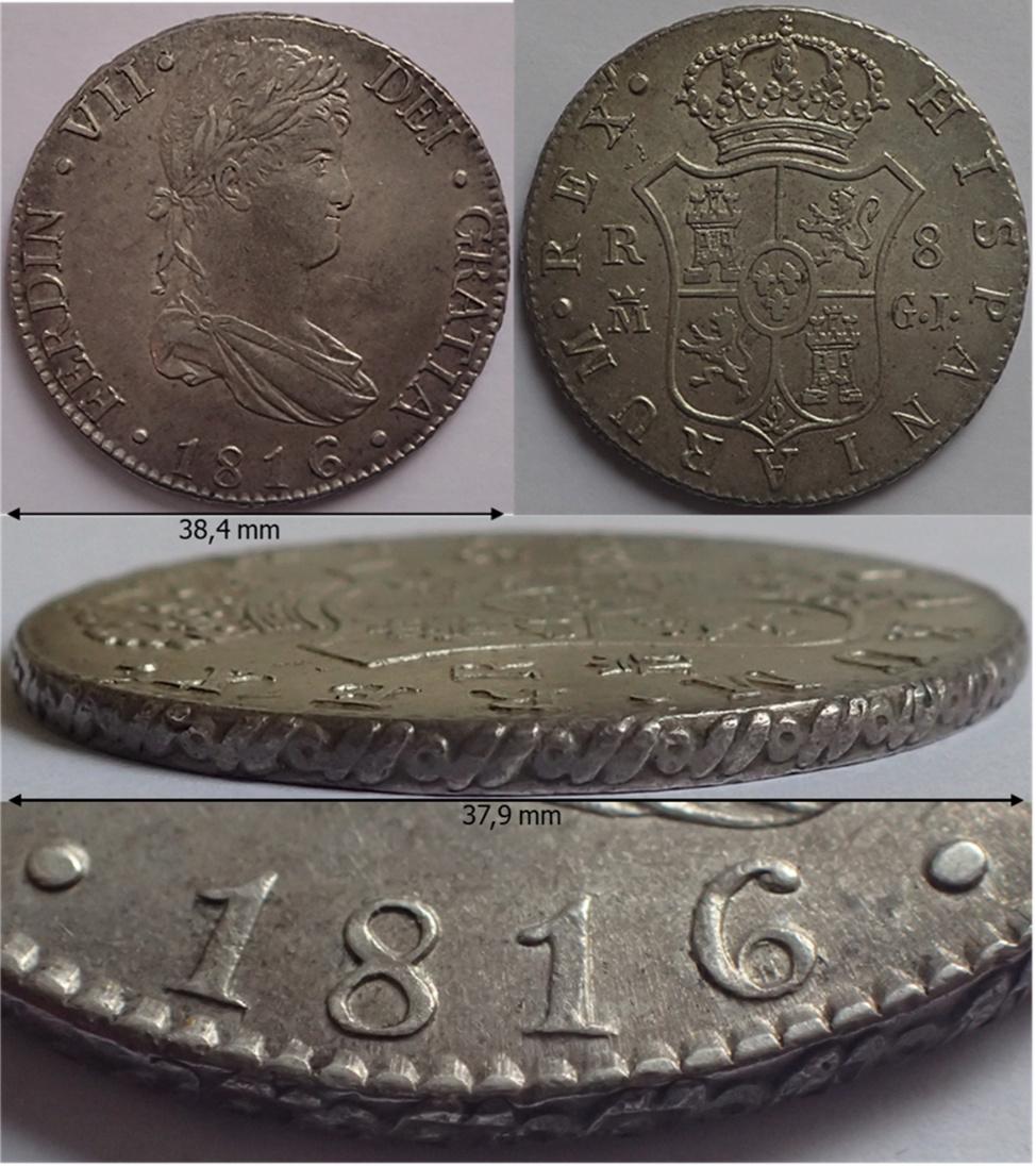8 Reales Fernando VII. 1816. Madrid. GJ Aa17