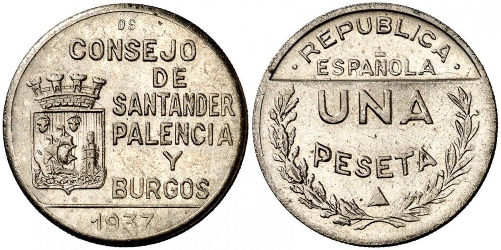 1 Peseta 1937. Consejo Santander Palencia y Burgos. PRUEBA Aa19