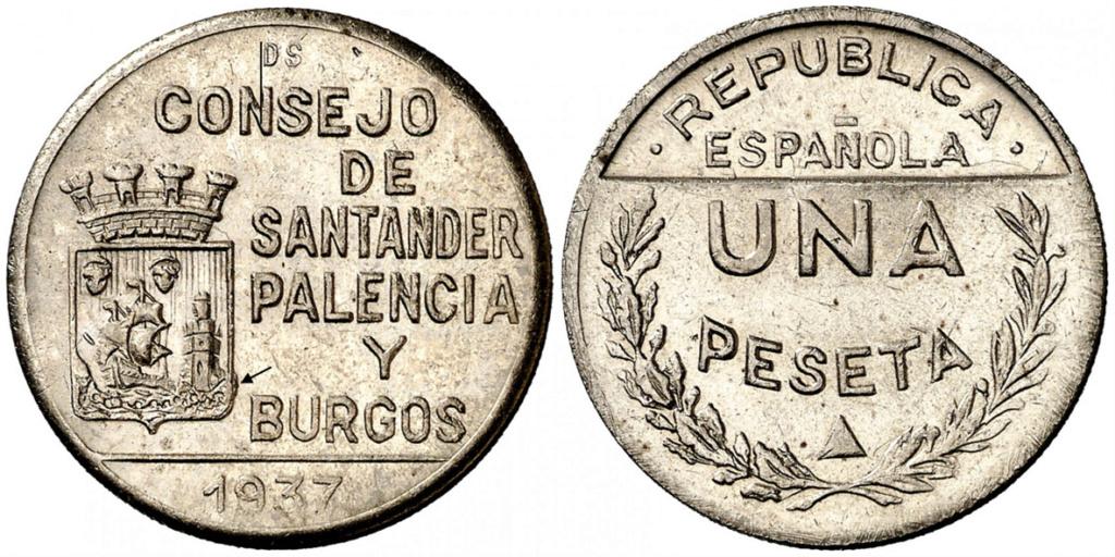 1 Peseta 1937. Consejo Santander Palencia y Burgos. PRUEBA B13