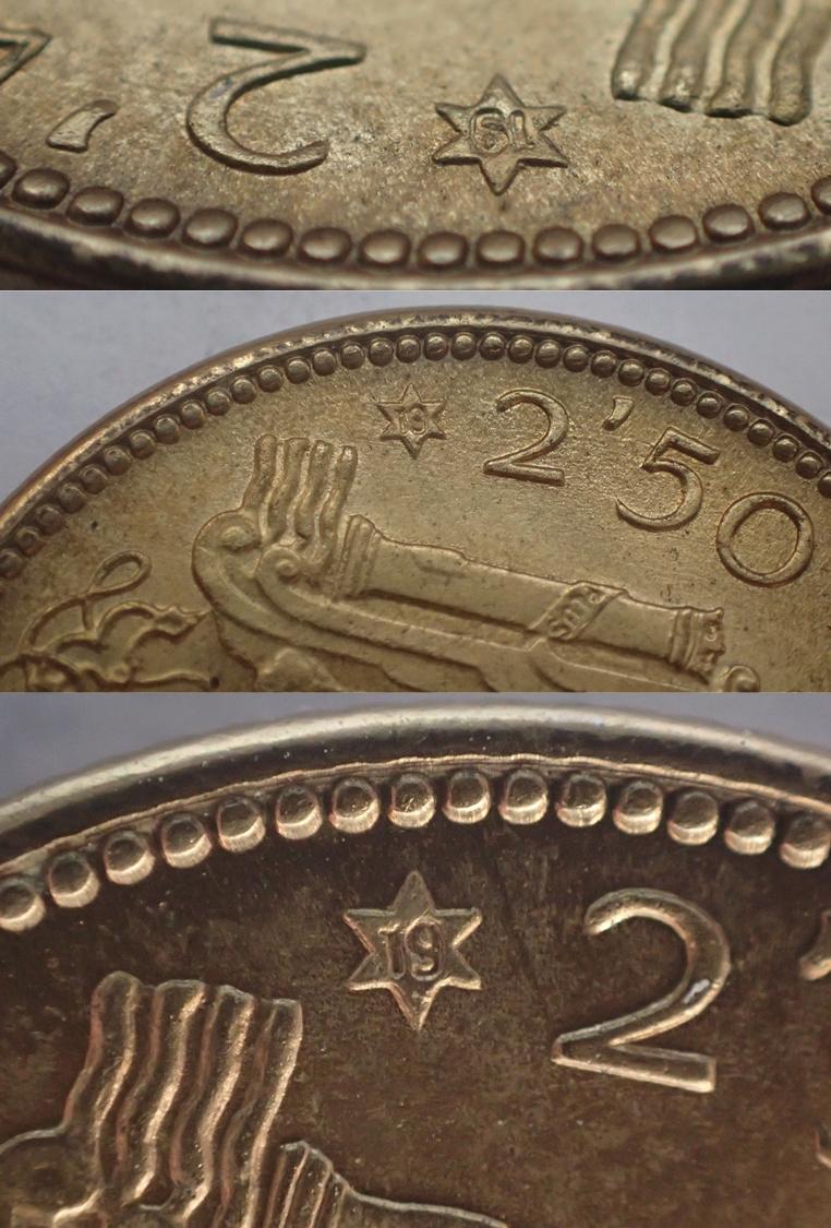 2,50 Pesetas 1953 (*19*54). Estado Español Bbbbb10