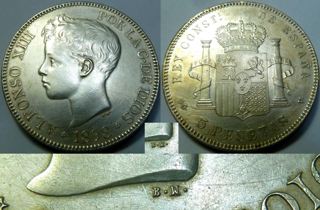 5 pesetas de Alfonso XIII, 1898. Error M de Maura al reves C12