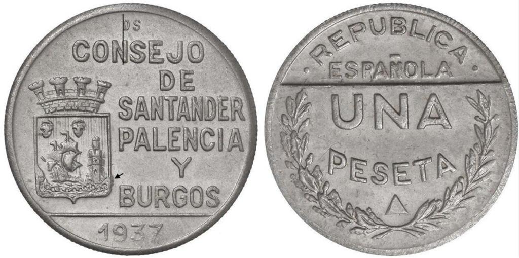 1 Peseta 1937. Consejo Santander Palencia y Burgos. PRUEBA C13