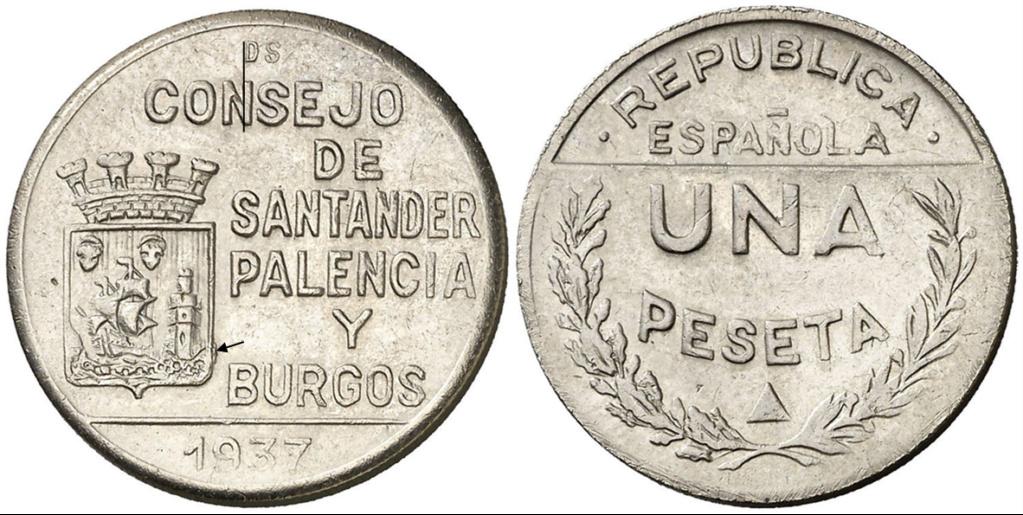 1 Peseta 1937. Consejo Santander Palencia y Burgos. PRUEBA D12