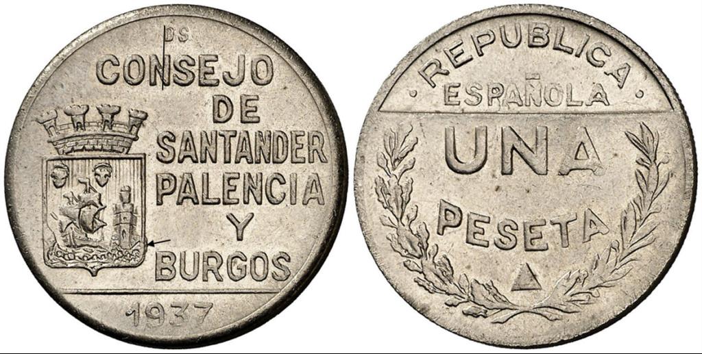1 Peseta 1937. Consejo Santander Palencia y Burgos. PRUEBA E12