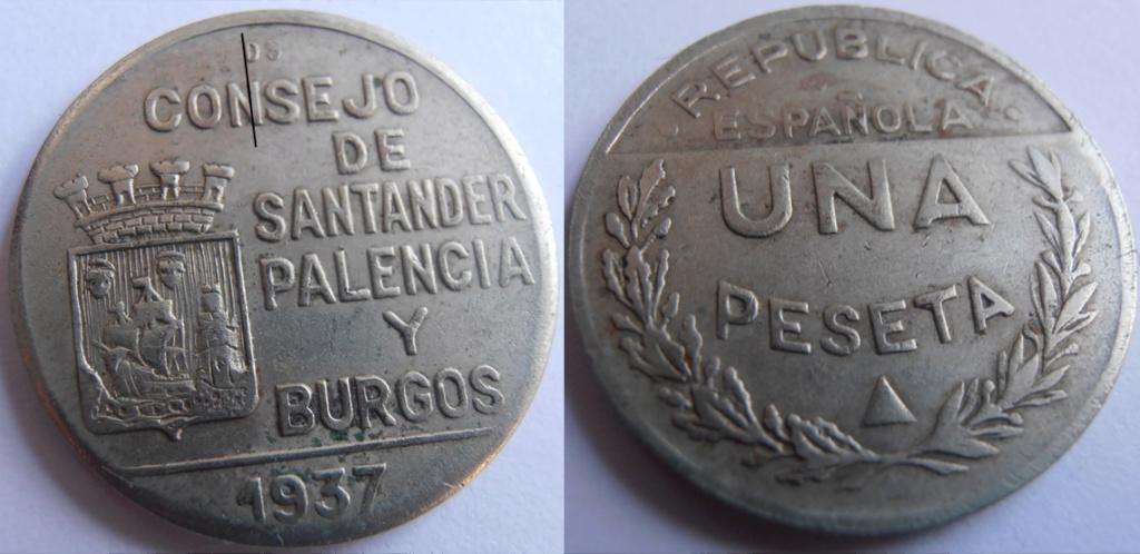 1 Peseta 1937. Consejo Santander Palencia y Burgos. PRUEBA F14