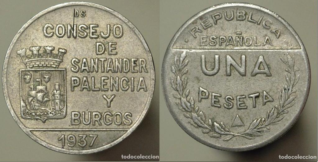 1 Peseta 1937. Consejo Santander Palencia y Burgos. PRUEBA G12